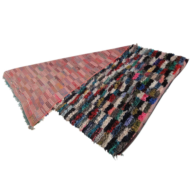 Boucherouite Rug Moroccan Vintage Rag Rug At 1stdibs