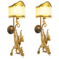 Bronze Dragon Wall Sconces, Pair