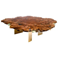 Round coffee table in wood with crystal and gemstone inlay
