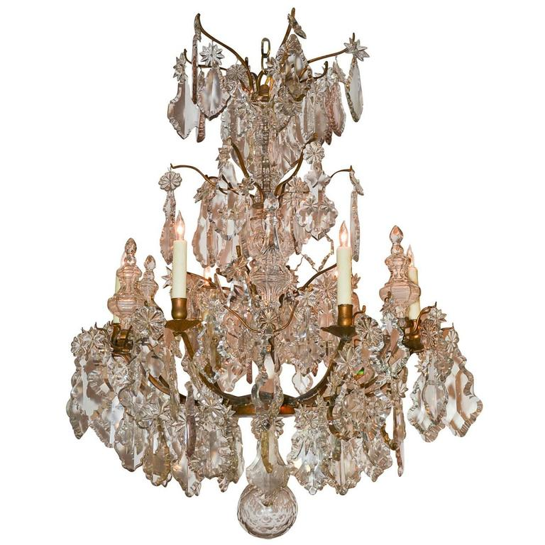 Nice Quality French Bronze and Crystal Chandelier