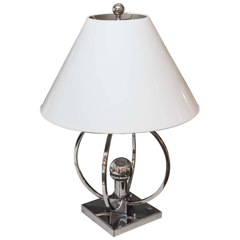 unusual chrome spherical table lamp with custom shade for sale at. Black Bedroom Furniture Sets. Home Design Ideas