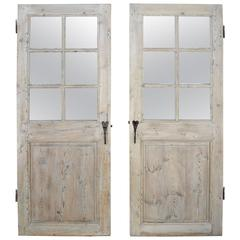 Antique Set of Two 18th Century Wooden Doors with Matching Hardware from Lyon
