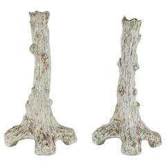 Pair of Sitzendorf Faux Bois Porcelain Candlesticks
