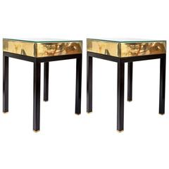 Pair of Square Brass Side Tables with Ebonized Metal Legs and Glass Tops