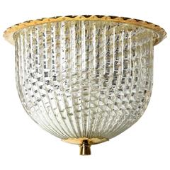Dome Form Flush Mount Fixture with Brass and Braided Glass Shade by Barovier