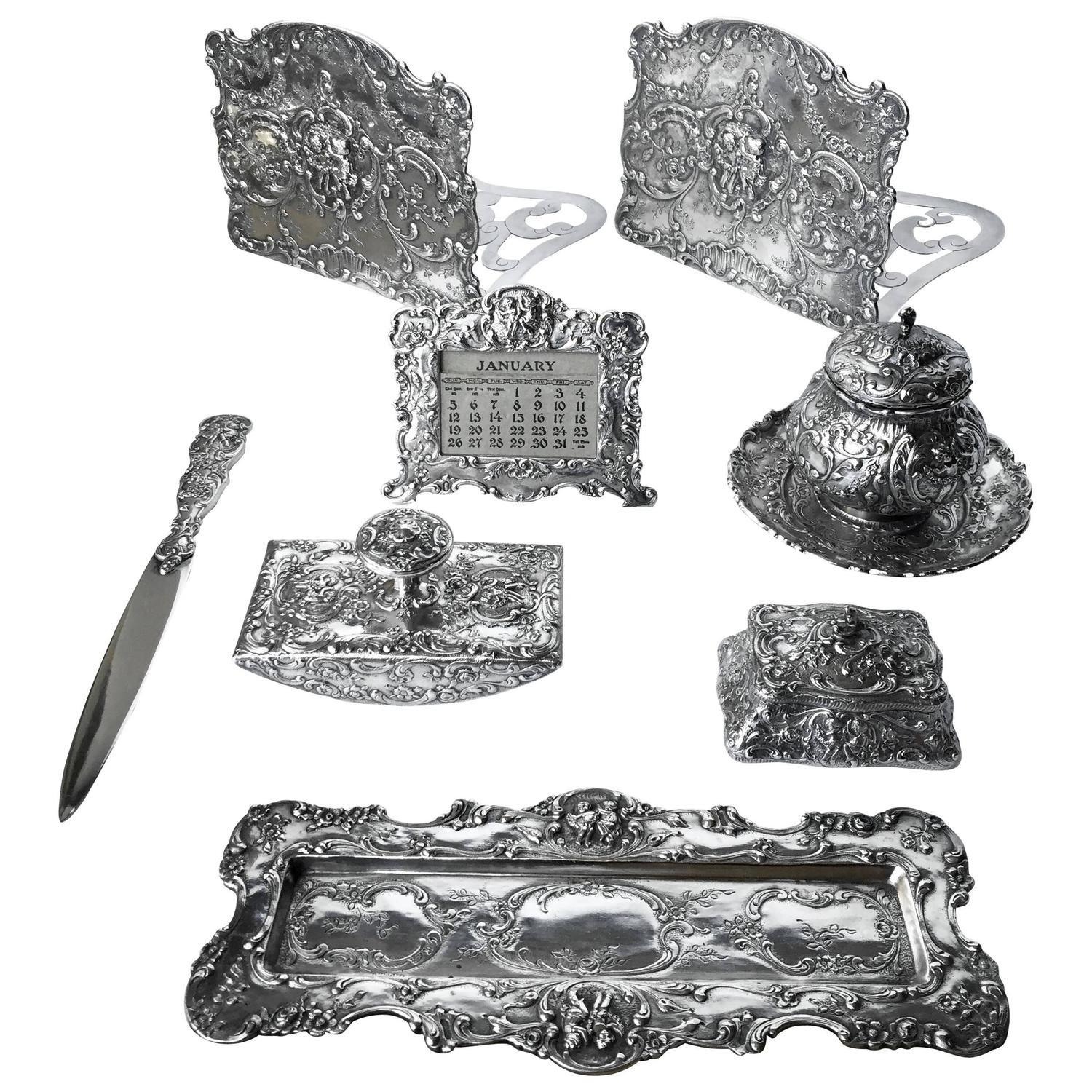 Marshall Fields Furniture: Fantastic And Complete Sterling Desk Set By Marshall