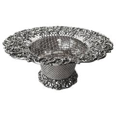 American Reticulated Sterling Silver Centerpiece Basket with Frog, circa 1900