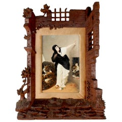 19th Century German Porcelain Plaque of Euphemia in a Carved Black Forest Frame