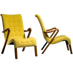 Axel Larsson Pair of Lounge Chairs, Sweden, 1940s