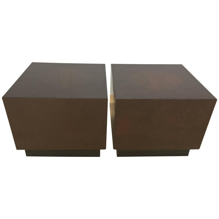 Pair of burl cube side tables for sale at 1stdibs for Cube side table