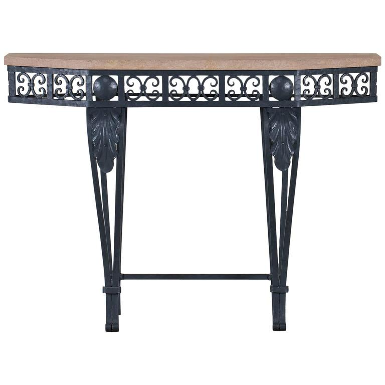Art Deco Period Painted Iron and Marble French Console Table, circa 1930