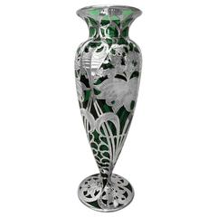 Large American Art Nouveau Sterling Silver Overlay Vase, circa 1900