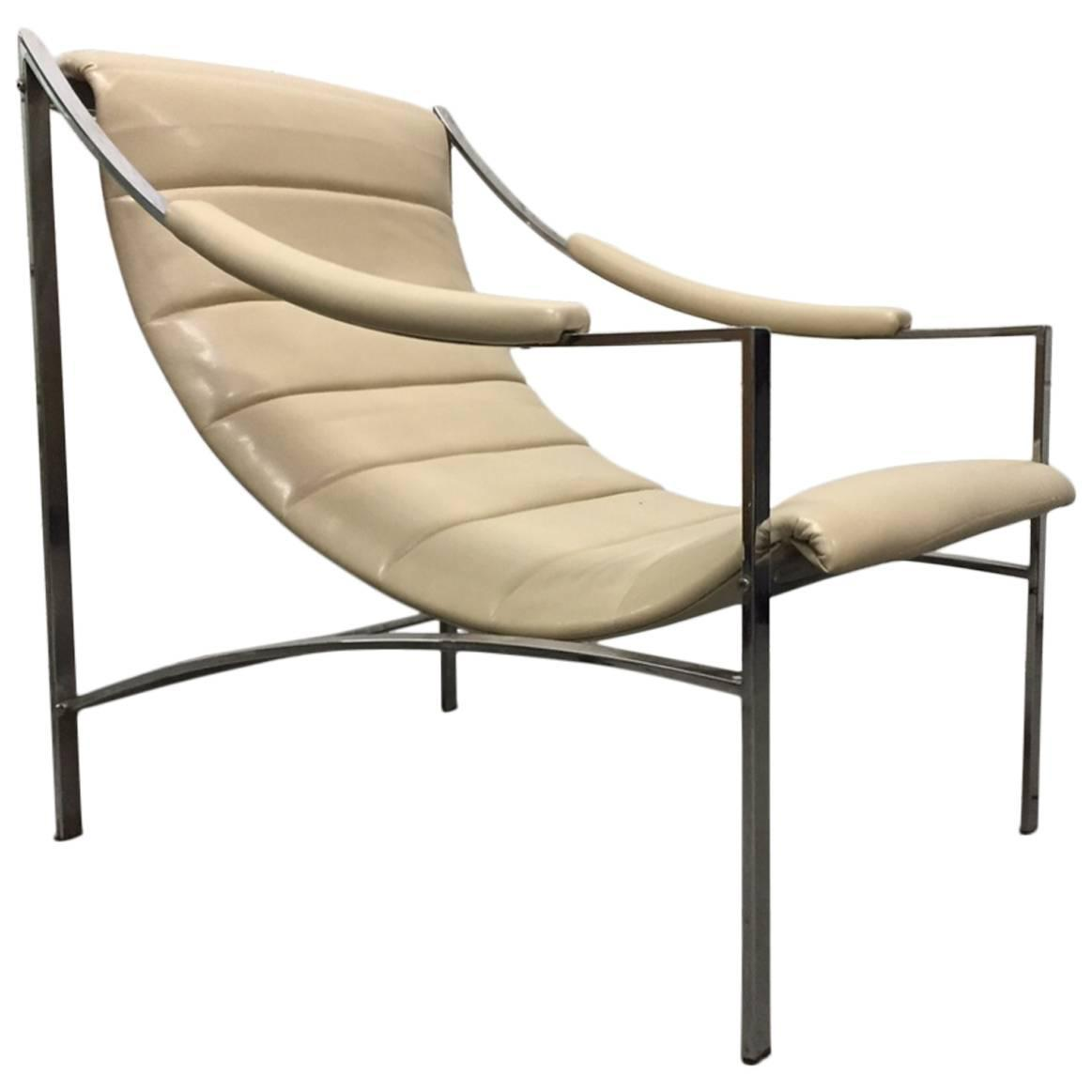 Mid Century Modern Leather And Chrome Lounge Chair For Sale At 1stdibs