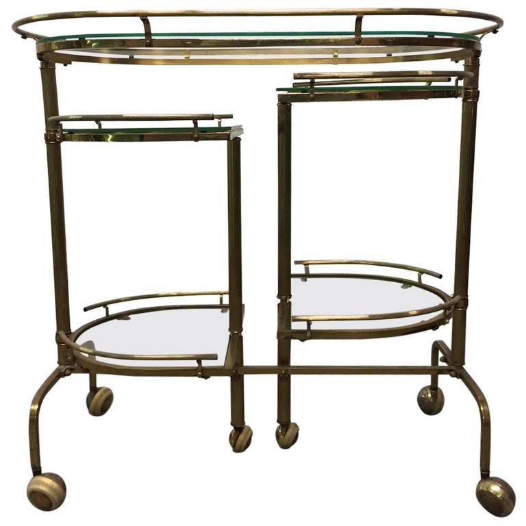 Three-Tier Brass Folding Bar Cart