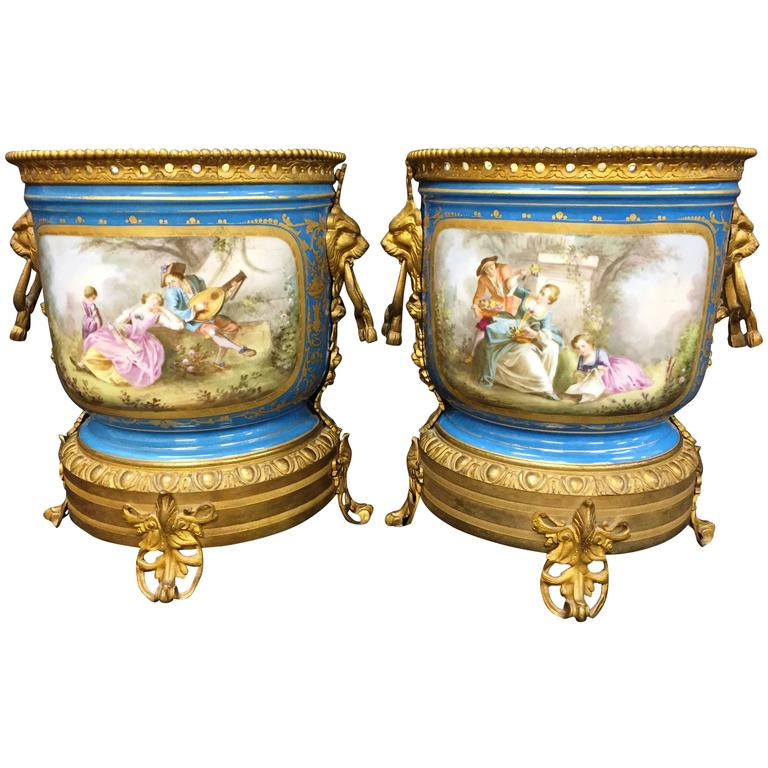 Pair of 19th Century Sevres Jardinieres For Sale