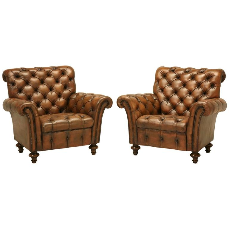English Tufted Leather Lounge Chairs at 1stdibs