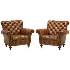 English Tufted Leather Lounge Chairs