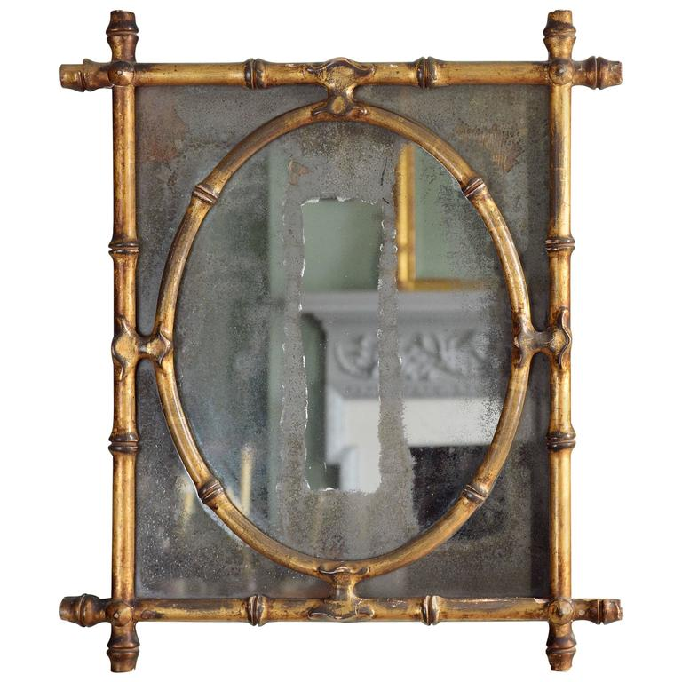 Italian Gold Gilt Iron And Glass Faux Bamboo Metal Square: Gilded Faux Bamboo Mirror At 1stdibs