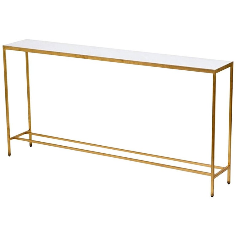Marble-Top Console with Metal Base