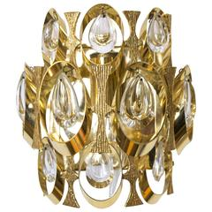 Sciolari Crystal and Gold-Plated Sculptural Wall Sconce