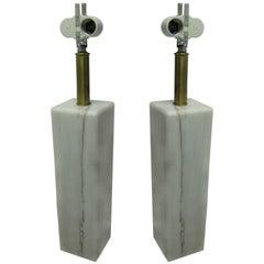 Pair of Italian Marble Table Lamps, Von Neesen