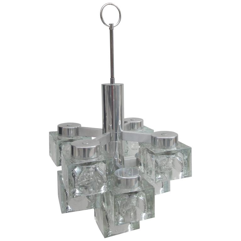 Gaetano Scolari Lightolier Ice Cube Chandelier