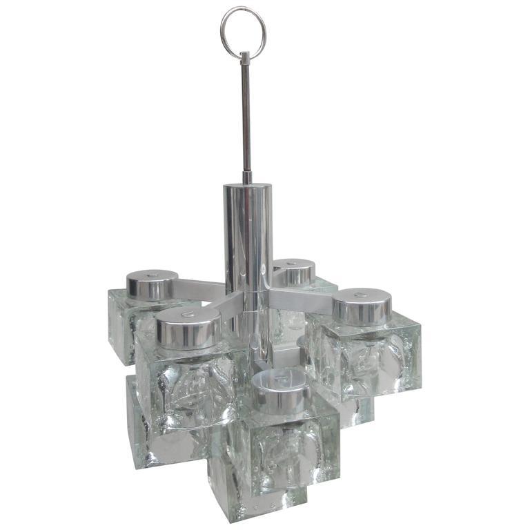 Lightolier Ring Chandelier At 1stdibs: Gaetano Scolari Lightolier Ice Cube Chandelier For Sale At