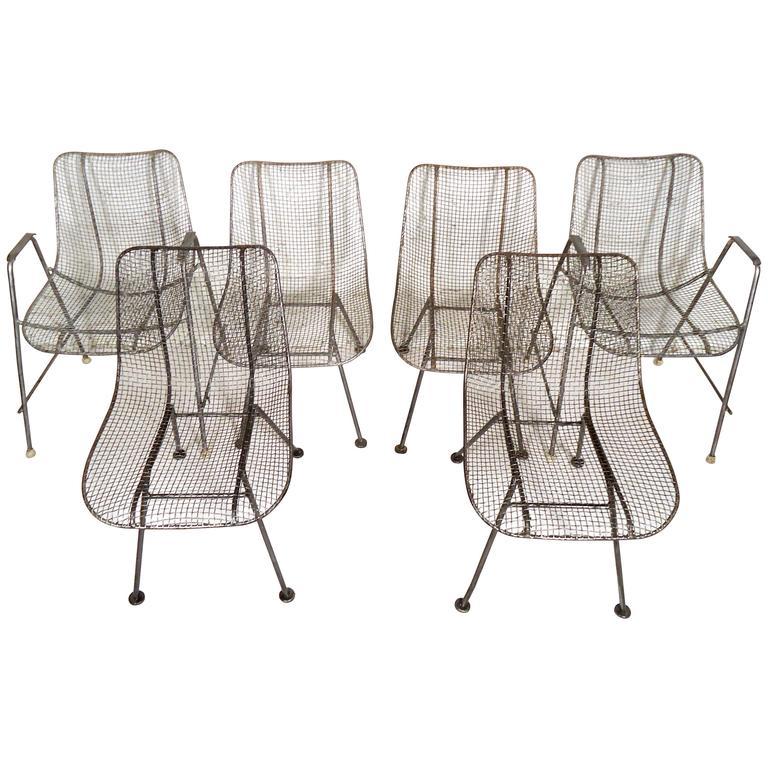 Six Mid-Century Russell Woodard Metal Chairs