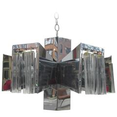 Lightolier Chrome Chandelier with Crystals