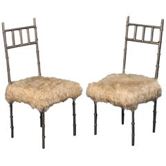 Pair of Nickel over Iron Bamboo Chairs with Goat Fur Seats