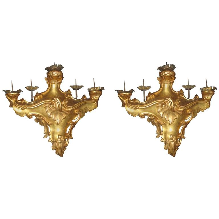 Pair of Louis XV Period Italian Giltwood Five-Light Wall Scones