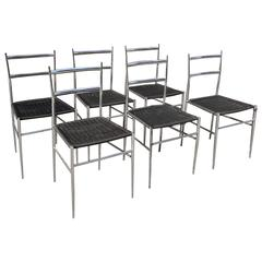 "Set of Six In the Style of Giò Ponti Chrome ""Superleggera"" Dining Chairs"