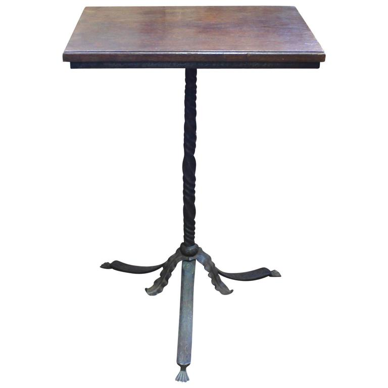 neogothic hand wrought iron pedestal base walnut top side table or stand 1