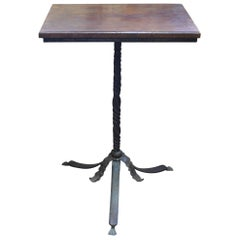 Neo-Gothic Hand Wrought Iron Pedestal Base Walnut Top Side Table or Stand