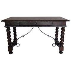 Dos Gallos Custom Barley Twist Writing Desk With Carved Detail and Iron Support