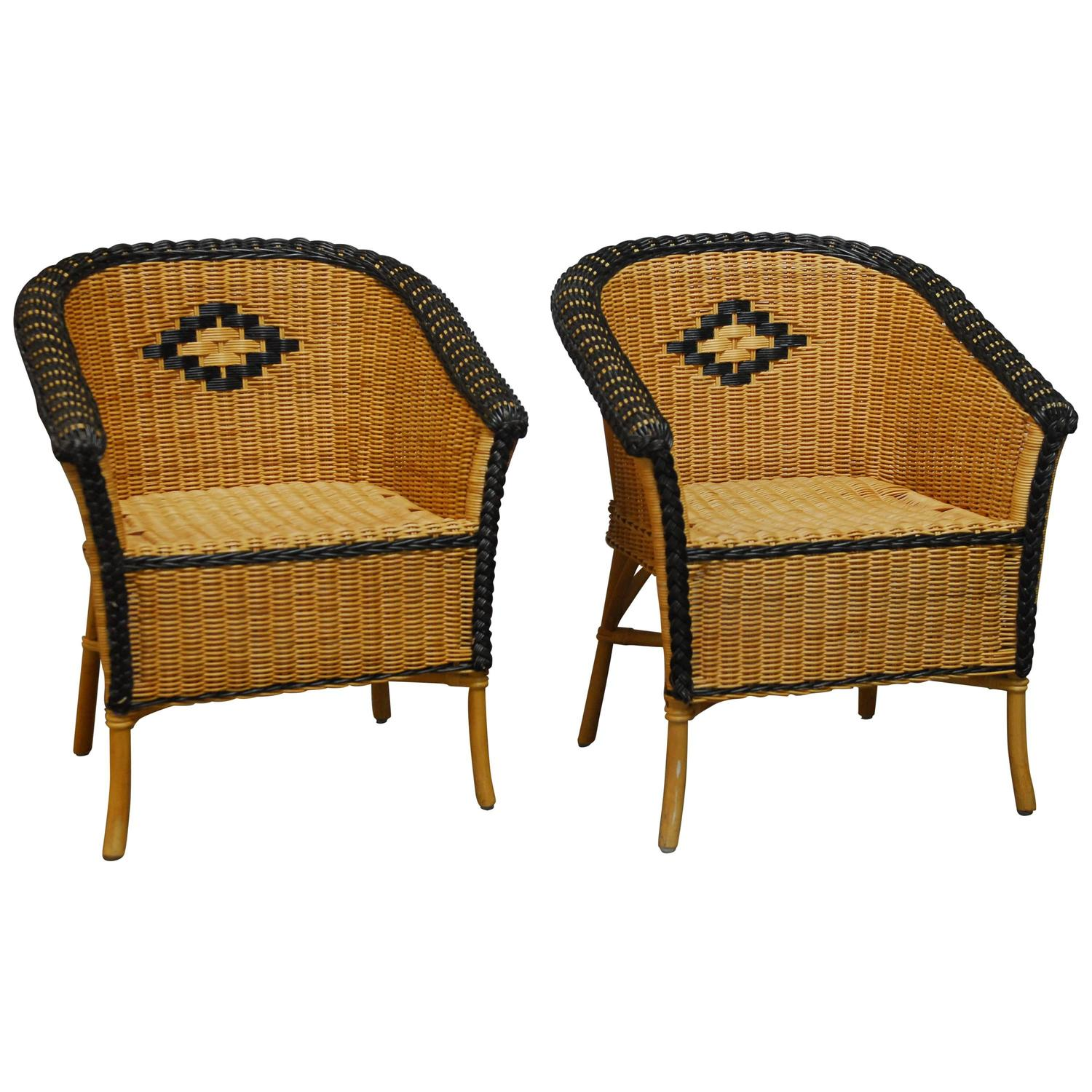 French Grange Style Rattan Club Chairs At 1stdibs