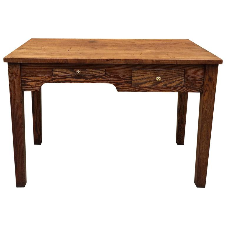Rare 1920s Industrial Oak Engineer/Foreman's Desk