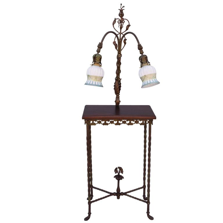 this 1920s wrought iron table with attached lamp is no longer. Black Bedroom Furniture Sets. Home Design Ideas