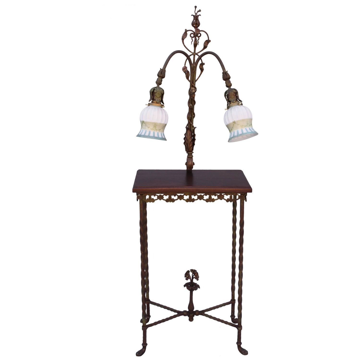 1920s wrought iron table with attached lamp for sale at 1stdibs. Black Bedroom Furniture Sets. Home Design Ideas