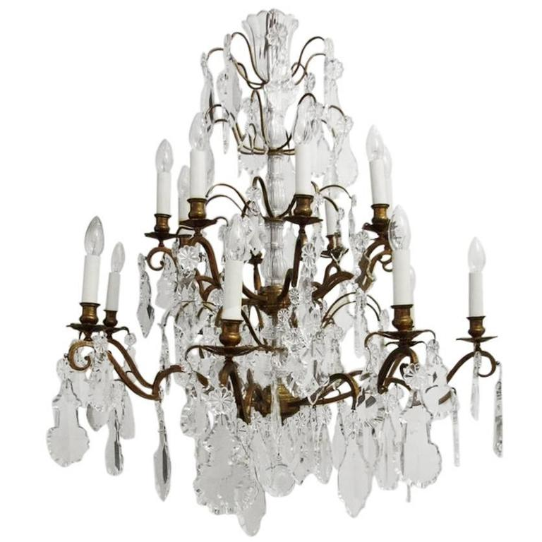 16 Arm Gilt Brass And Crystal Chandelier For Sale At 1stdibs