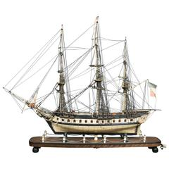 Outstanding Vessel Model under Glass, Early 19th Century