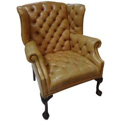 Buttery English Tufted Wing Chair