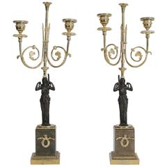 Pair of 18th Century Bronze Candlesticks in Gold Gilt with Marble Base