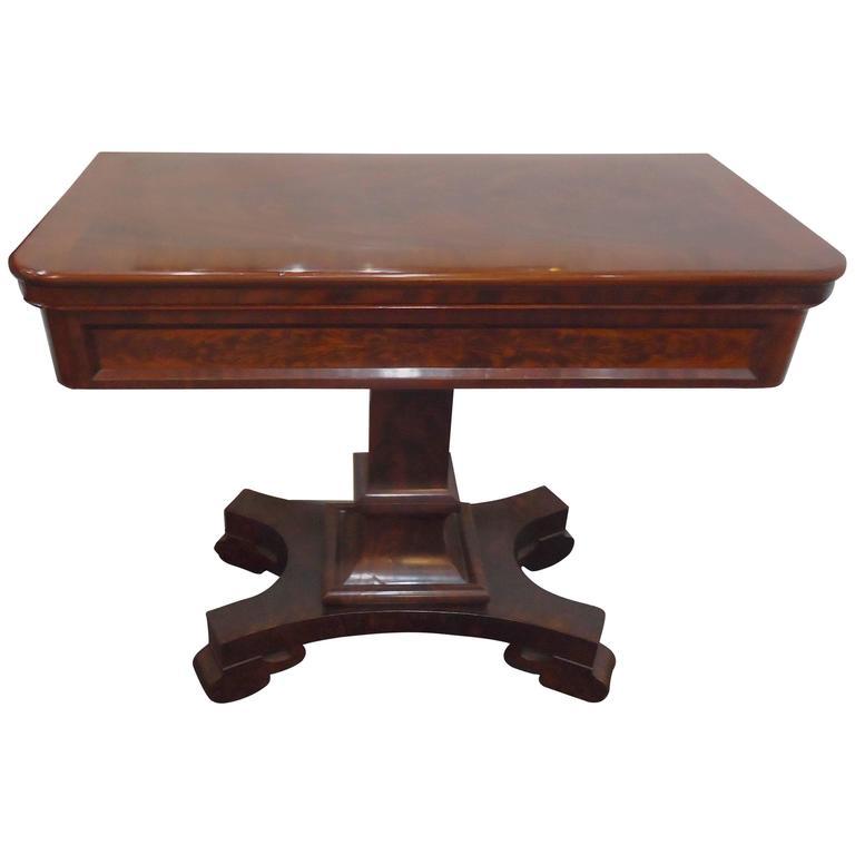 Elegant Regency Crotch Mahogany Side Table Game Table At