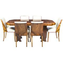 Antique Art Deco Burr Walnut Dining Table Six Chairs, circa 1930