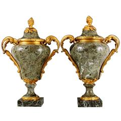 Magnificent Pair 18th Century Ormolu-Mounted Verde Antico Marble Lidded Urns