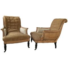 Pair of French Scroll Back Salon Chairs