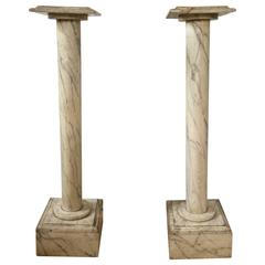 Pair of French Faux Marble Column Pedestals