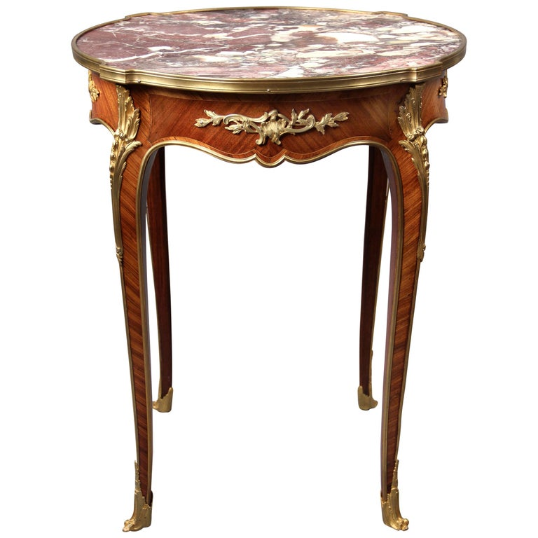 Late 19th Century Gilt Bronze-Mounted Marble-Top Lamp Table For Sale