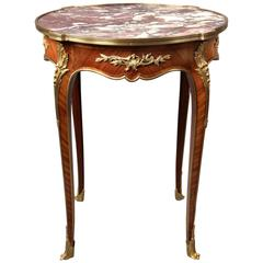 Late 19th Century Gilt Bronze-Mounted Marble-Top Lamp Table